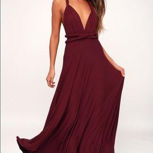 Burgundy convertible dress